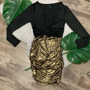 Dresses & Skirts - Sexy Bodycon Black and Gold Dress- size XL